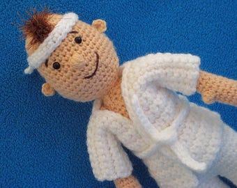 Taekwondo kid martial arts amigurumi doll toy boy crochet pattern pdf judo karate