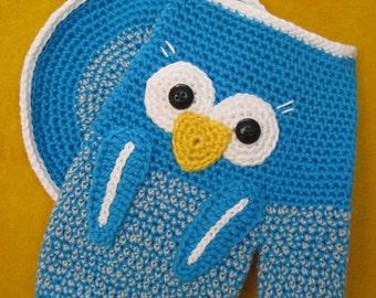 Owl oven glove potholder mitts kitchen decor crochet pattern pdf