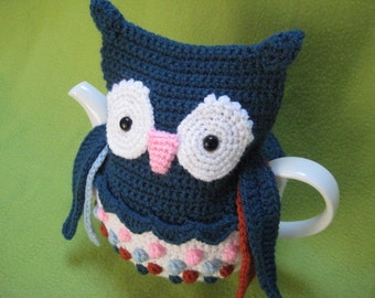 Tea cosy owl cozy crochet pattern animal pdf