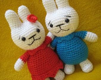 Amigurumi bunny boy and girl animal toy doll crochet pattern pdf