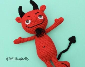 Cheeky Red Devil Amigurumi CROCHET PATTERN PDF Toy Doll Halloween