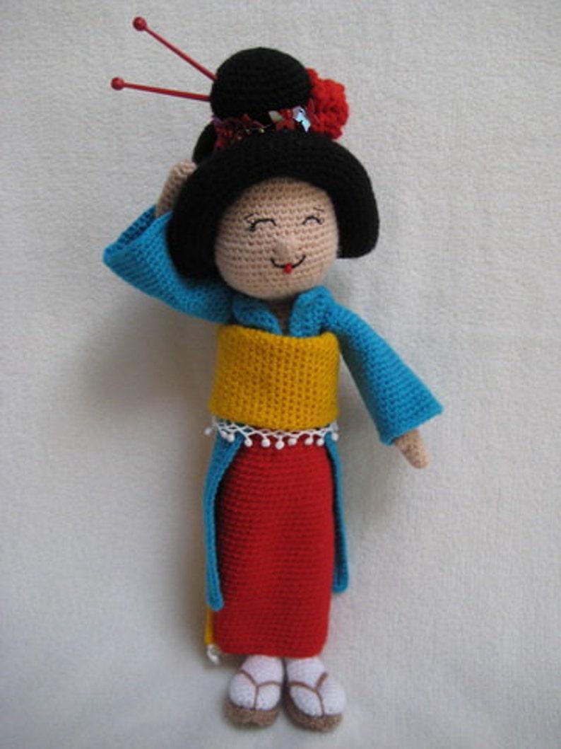 Haakpatroon Amigurumi Geisha Pop Knuffel Pdf Kokeshi Doll Etsy