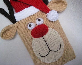 Hot Water Bottle Cover Rudolph Reindeer PJ Pyjama Case Pillow Crochet PATTERN PDF Christmas