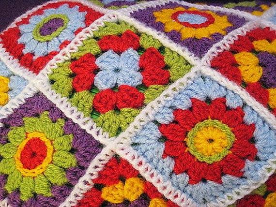 Haakpatroon Kruikhoes Diagonaal Granny Flower Square Pdf Etsy