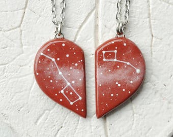 Half heart necklaces Set Valentine's Day gift Girlfriend Big dipper pendant Red Little dipper Friendship Boyfriend Constellation Ursa Minor