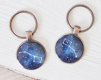 Set of keychains Big dipper Little Long distance Boyfriend gift Girlfriend gift Anniversary Constellation Ursa Major Minor Couples set