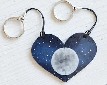 Set of keychains Fool Moon Valentines Day gift Anniversary Half heart Boyfriend Friendship Best friend