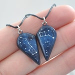 Set of 2 necklaces Half heart Big Little Dipper Mother day Anniversary gift Boyfriend Girlfriend Galaxy jewelry Ursa Minor Major Pendant