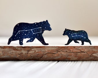 Set of brooches Little Dipper gift Brooch Big Dipper Ursa major Blue wooden brooch Ursa Minor Constellation Little bear brooch Night sky