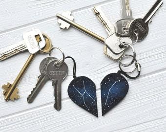 Set of keychains Half heart keychain Boyfriend gift Couples set Anniversary Customized BFF heart