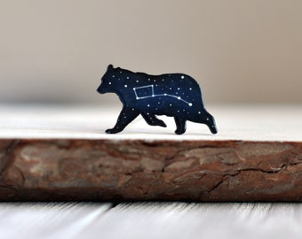 Ursa minor brooch Little Dipper brooch Bear brooch Bift under 20 Bear wooden brooch Universe Gift for her Constellation Space jewelry Blue