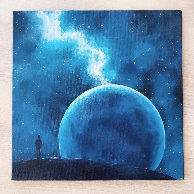 Original Painting Space Star Painting Universe Home Decor Astronomy Art Wall Decor Space Small Picture Acrylic Art Galaxy Nature Astronomia