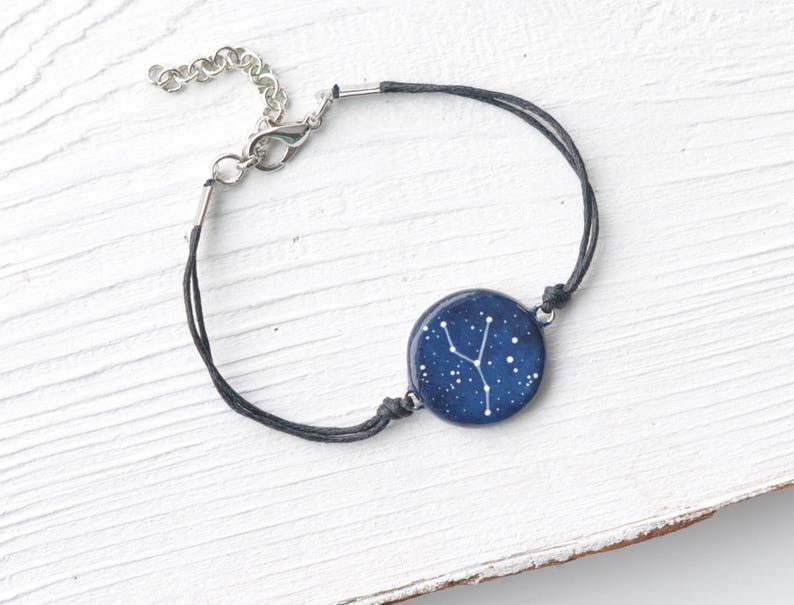 Cancer bracelet Zodiac gift Birthday July June Cancer sign gift Astrology  gifts Personalized gift Zodiac jewellery Horoscope Cancer blue