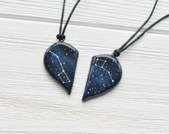 Half heart necklace Big dipper pendant Little gift Two hearts necklace Boyfriend gift Girlfriend gift Constellation Ursa Minor Mother day