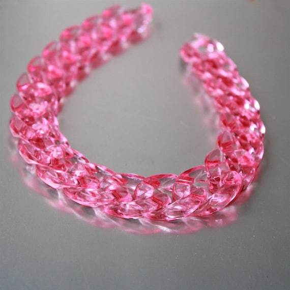 Open Link per Size 23mmx16mm 80pcs Matte Sapphire Acrylic Curb Chain Links Translucent Plastic Curb Chain Links