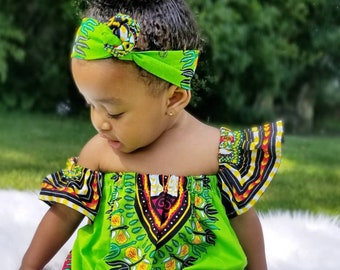 98da9c45b76f Baby african clothing .African Bardot dress. Baby Off shoulder dashiki  dress. African outfit. African baby clothing.