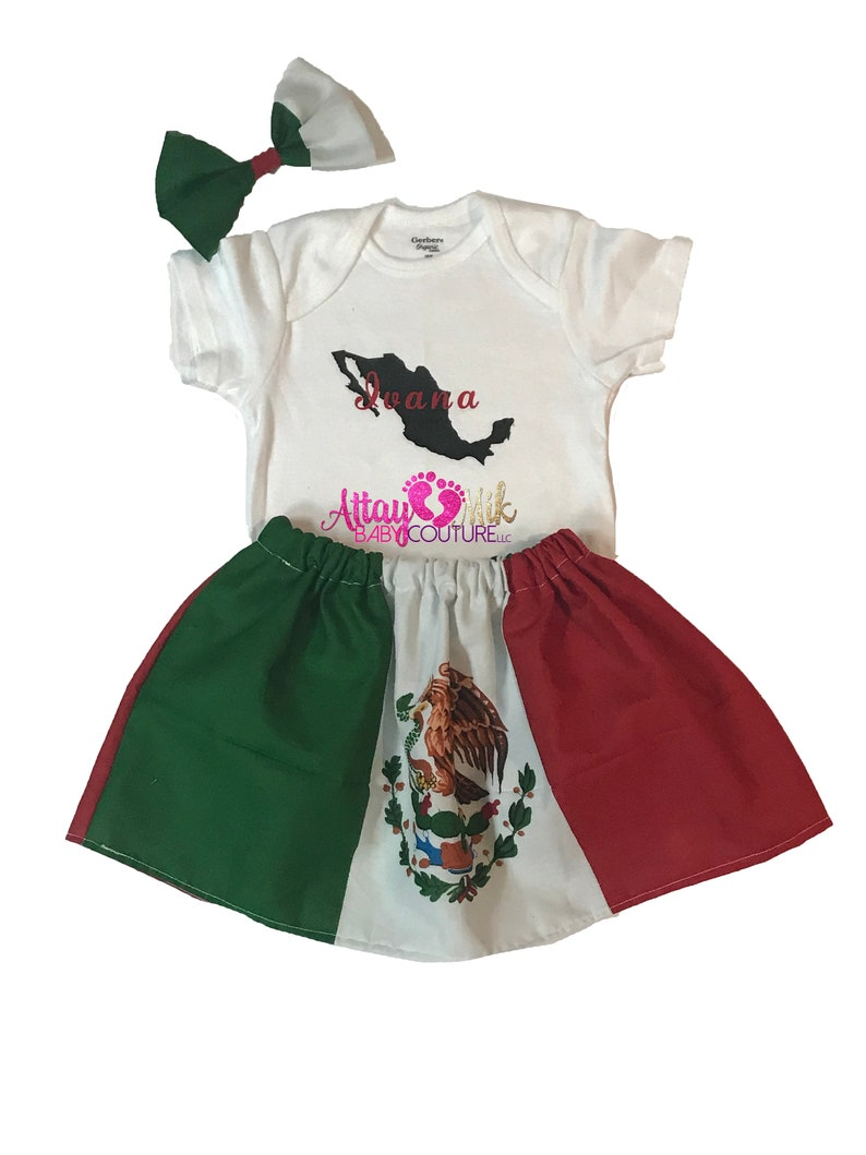 Mexican shirt set for toddlers Mexican Heritage bodysuit Mexican Dress Mexico flag Mexico baby girl Mexican Skirt Set for Girls