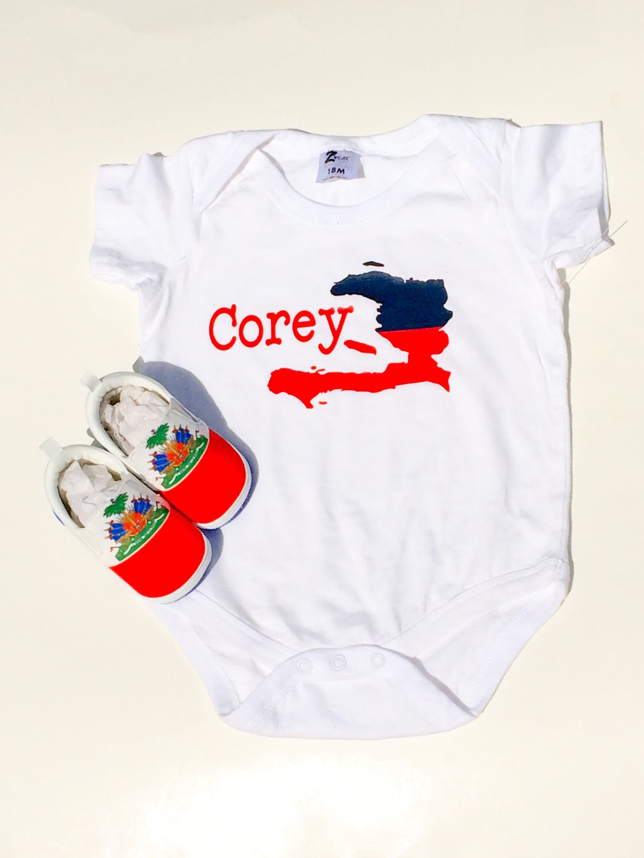 USA Vintage Haiti Flag Toddler Baby Long Sleeve Bodysuit Baby Clothes Onsies