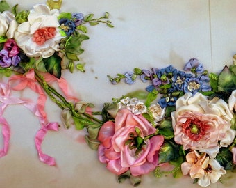 Wall decor handing vintage roses ribbon embroidered picture embroidery  ribbon framework ribbon roses fiber art silk ribbon embroidery.