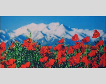 Poppies flowers wield large image printed on gabardine for crafting, background for ribbon embroidery high quality printed, washable stamps