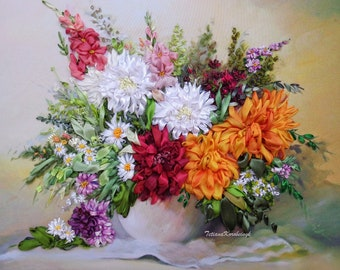 """Embroidered Picture Ribbon  """"Splash of flower joy"""" Fiber art Floral Painting 3D dahlias Ribbon Work Flowers  Daisies asters Vase gladiolus"""