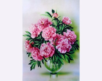 Peonies printed on fabric, images printed on gabardine for crafting, background for ribbon embroidery high quality printed, washable stamps