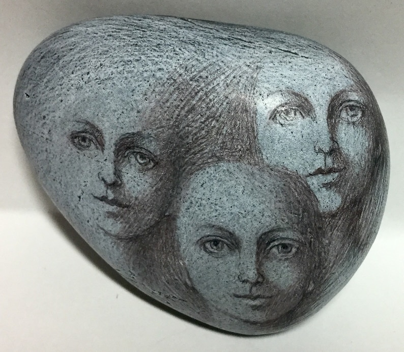 Three Faces Art Rock Original by Patty Wolford Artrox
