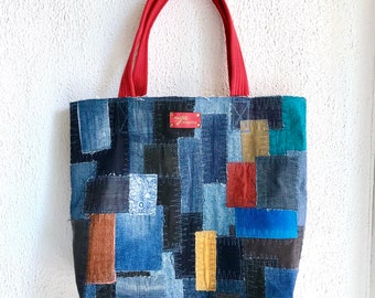 Denim patchwork bag XL big  shopper market boho boro patching tote bag repurposed old jeans up-cycled recycle sustainable fashion capacity