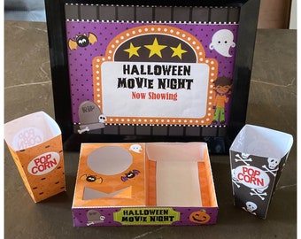 Instant Download - PDF template Kids Halloween Themed Movie Night / Cinema Set (Printable by you /DIY) - Details in description, popcorn
