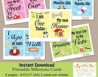 Instant Download - Puppy / New Dog Milestone Cards - PDF templates / Printable by you, DIY - see listing for full details / photo prop