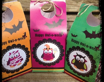 INSTANT Download - Set of 3 Cute Happy Owl-O-Ween Themed Halloween Treat Boxes / Favor Boxes (Printable by you & Details in listing PDF