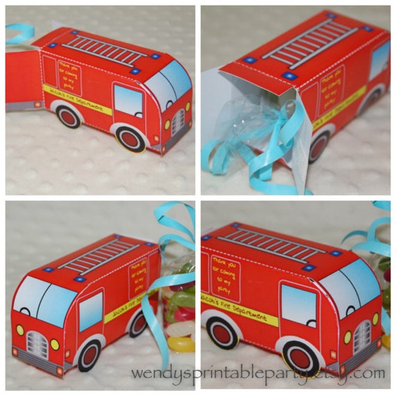 PDF Template Personalised Fire Engine / Fire Trust Favor Box (PDF) (DIY/  Printable By You) See Description For Size And Details By Wendy's Printable  Party Catch My Party