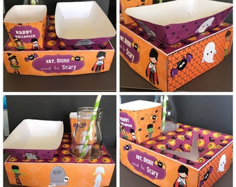 Instant Download PDF template Halloween Themed Party Food Lunch Box w/ Hotdog Tray & Popcorn Box (Printable by you/DIY) see listing for info