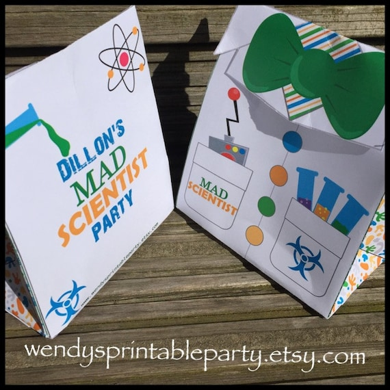 Personalized Printable Lab Coat Treat Bag Science Party