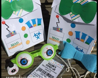 PDF template Personalized Lab Coat Treat Bag / Science Party Favor Bag (printable by you / DIY) - see listing full details / mad scientist