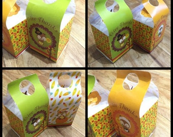 INSTANT Download - Set of 2 Cute Owl Themed Thanks Giving Treat Box/Favor Box Templates (Printable by you & DIY) see listing for all details