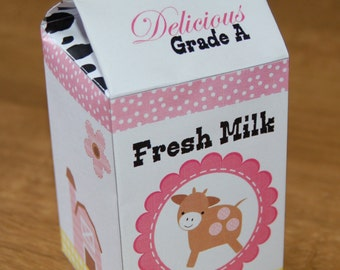 PDF template Girl Farm / Barnyard Theme Milk Carton Favor Box (personalized, printable by you & diy) see description for details / tractor