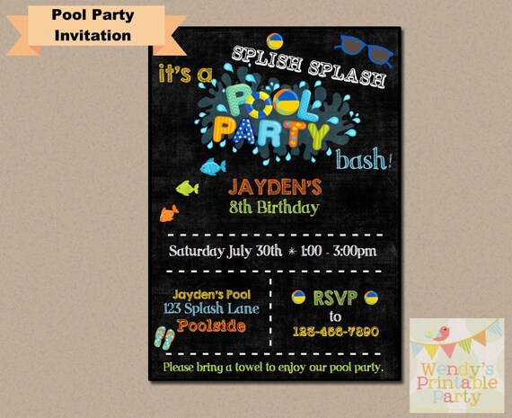 photo relating to Wendy's Printable Application identify 002. Pool Get together / Swimming Birthday Invitation (Printable
