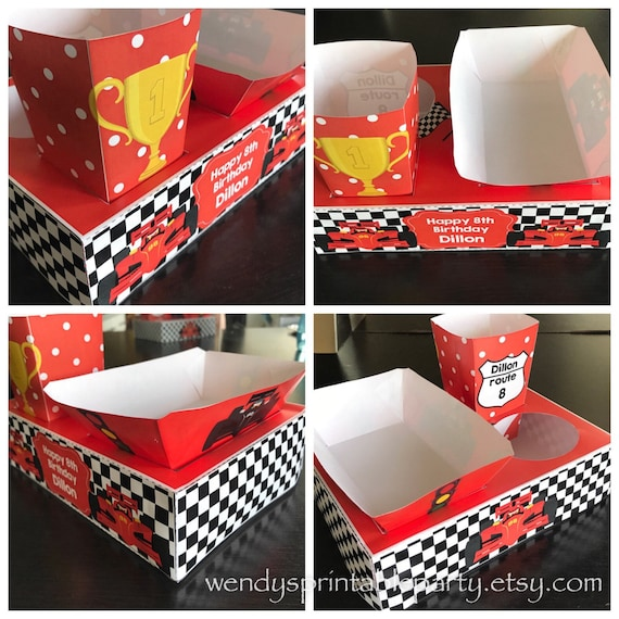 Race Car Themed Party Food Lunch Box With Hotdog Tray Popcorn Box