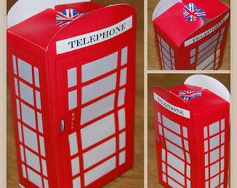 Instant download - Printable By You - Traditional Red telephone / call Box / London Themed favor box template (size/ details in description)