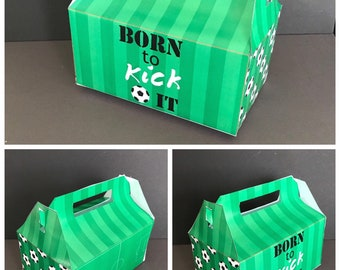 PDF template Personalised Soccer / Football / Sports Themed Favor Box /Treat Box (printable by you & diy) see listing for details and size