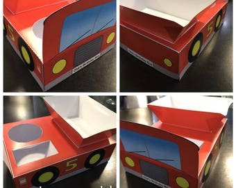 PDF template Bus Themed Party Food Lunch Box with hotdog tray (DIY & printable by you) product details in description - big red / school bus
