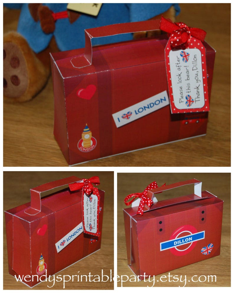 Suitcase Template   London Themed Suitcase Template With Personalized Gift Tag Etsy