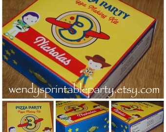 PDF template Personalized Toy Character Pizza Box Party Favor (printable by you / DIY) see listing for full details
