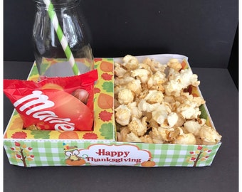 PDF template Thanksgiving Themed Popcorn / Cinema Style Tray (Printable by you /DIY) - product details in description  autumn fall theme