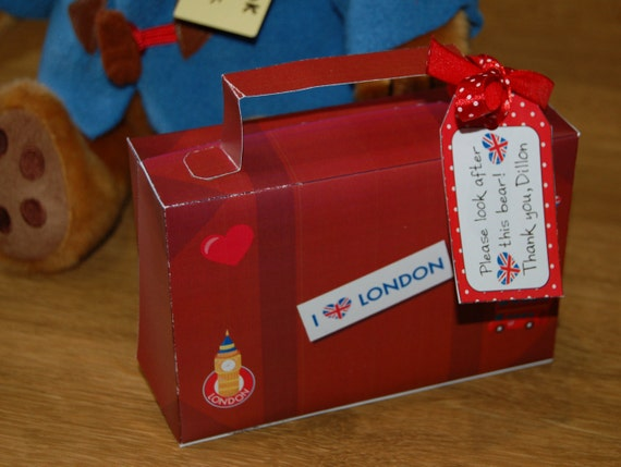 London Themed Suitcase Template With Personalized Gift Tag