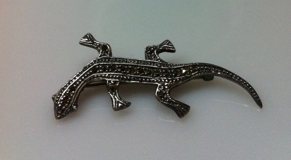 "25% OFF! Memorial Day Sale      LIZARD BROOCH  925 Sterling and Marcasite   2"" Long x 3/4"""
