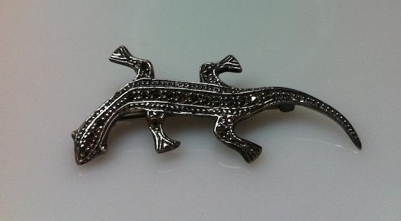 """STERLING SILVER Lizard Brooch2"""" Long x 3/4"""""""