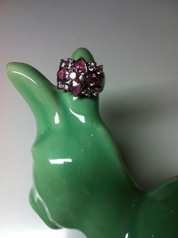 1950s PINK TOPAZ 925 Sterling Silver Ring - Size 7.5