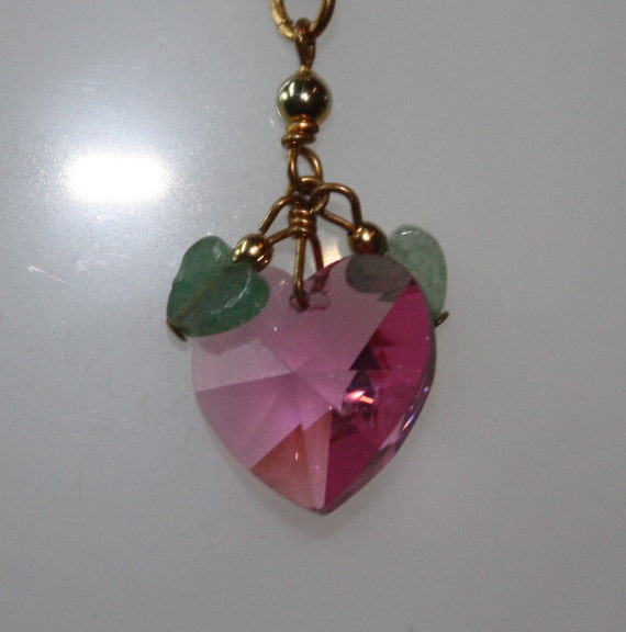 "1980s Vintage Faceted Pink Heart Pendant with 2 tiny Green Hearts on 18"" YGP over  925 SS Chain"